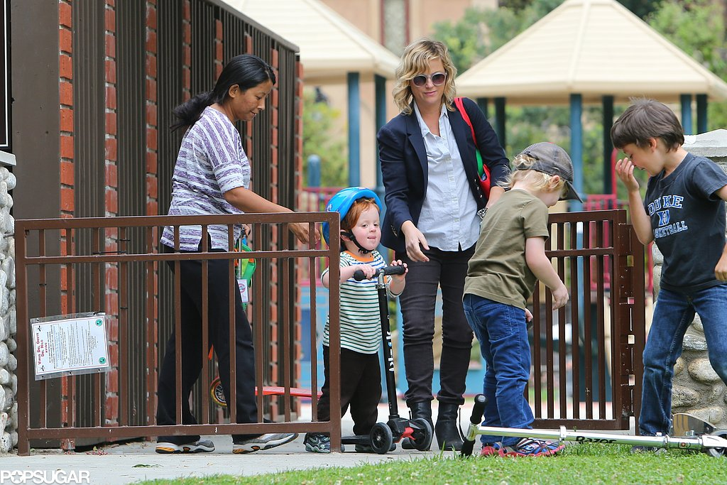 Amy Poehler played with her sons, Abel and Archibald, at a park in LA on Sunday.
