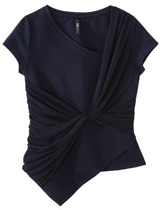 labworks Women's Short-Sleeve Ponte Top w/Twist Front - Navy