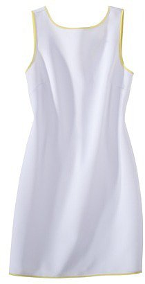 labworks Petites Sleeveless Neoprene Shift Dress - White/Lime
