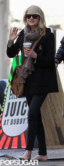 Emma Stone returned to NYC for The Amazing Spider-Man 2.