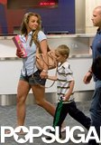 Britney Spears held her son Jayden's hand as they caught a flight out of New Orleans.