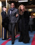 At President Obama's swearing-in ceremony in Washington DC, Beyoncé and Jay-Z brought two sophisticated ensembles. Beyoncé chose a black Emilio Pucci gown while Jay-Z wore a dark gray suit with a navy scarf.