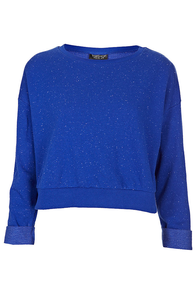 Topshop's cobalt cropped sweater ($36) will keep you cozy and cool. Pair it with any high-waisted bottom for maximum impact.