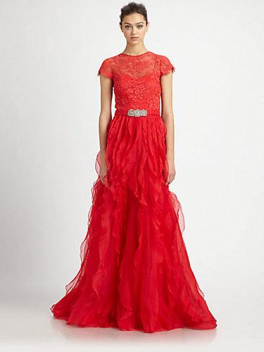 Teri Jon Lace-Sleeve Organza Gown