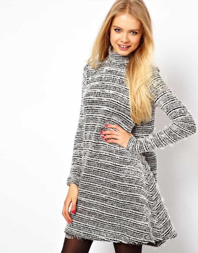 ASOS Swing Dress In Wooly Texture