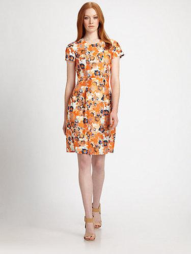 BOSS Black Floral Silk Shantung Dress