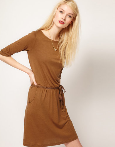 Sessun Jersey Dress with Lurex Tie Belt and Pockets