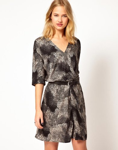 Selected Paint Wrap Dress in Print