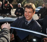 Tom Cruise hopped into a car in Dublin.