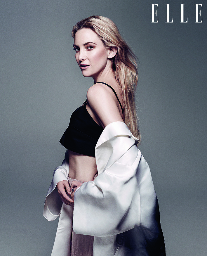Kate Hudson poses in a crop top. Full interview appears in the May issue of Elle UK, on sale Wednesday, April 3. Also available as a digital edition. Source: Benny Horne, courtesy of Elle UK