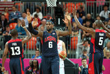 LeBron James went on double duty for some midgame skin with his teammates Chris Paul and Kevin Durant during the London Olympics in July 2012.
