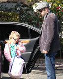 Ben Affleck dropped Violet Affleck off at a friend's in LA.