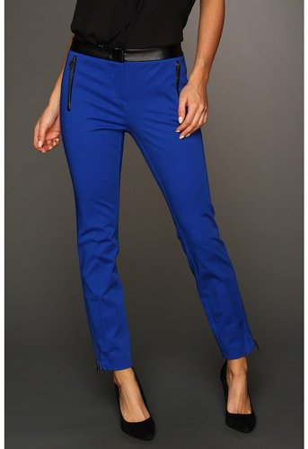 DKNYC - Skinny Ankle Pant w/ Faux Leather Waist Pockets (Sapphire) - Apparel