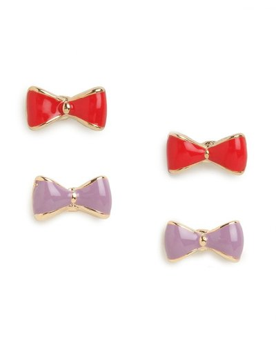 Red & Lilac Minnie Bow Studs