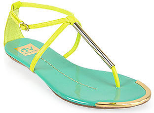 Dolce Vita - Archer - Teal and Yellow Leather T Strap Sandal