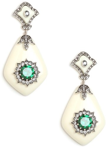Miriam Salat Ivory and Emerald Glamour Earrings