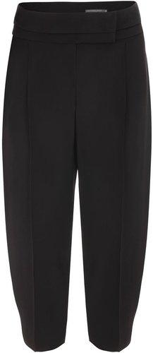 Black Crepe Box Pleat Trousers