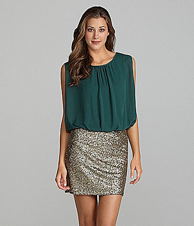MM Couture by Miss Me Sleeveless Sequin-Skirt Dress