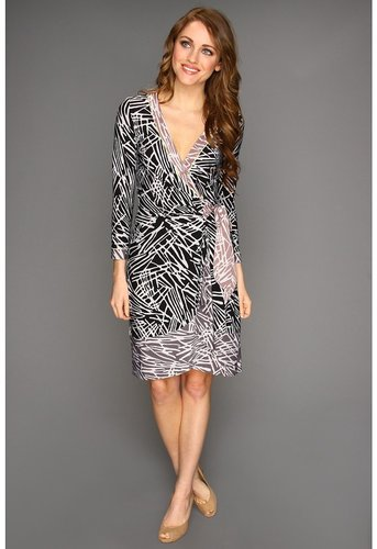 BCBGMAXAZRIA - Naomi L/S Printed Color Blocked Matte Jersey Wrap Dress (Black Combo) - Apparel