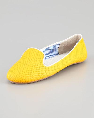 Charles Phillip Shanghai Lizette Python-Embossed Slip-On Loafer, Yellow