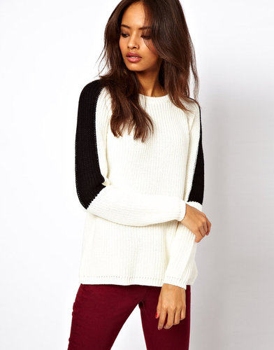 ASOS Chunky Sweater With Cross Back & Contrast Sleeve