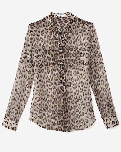 Equipment Chiffon Leopard Mid Placket Blouse