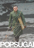 Matt Damon wore a military-green coat while filming The Monuments Men in Berlin on Thursday.