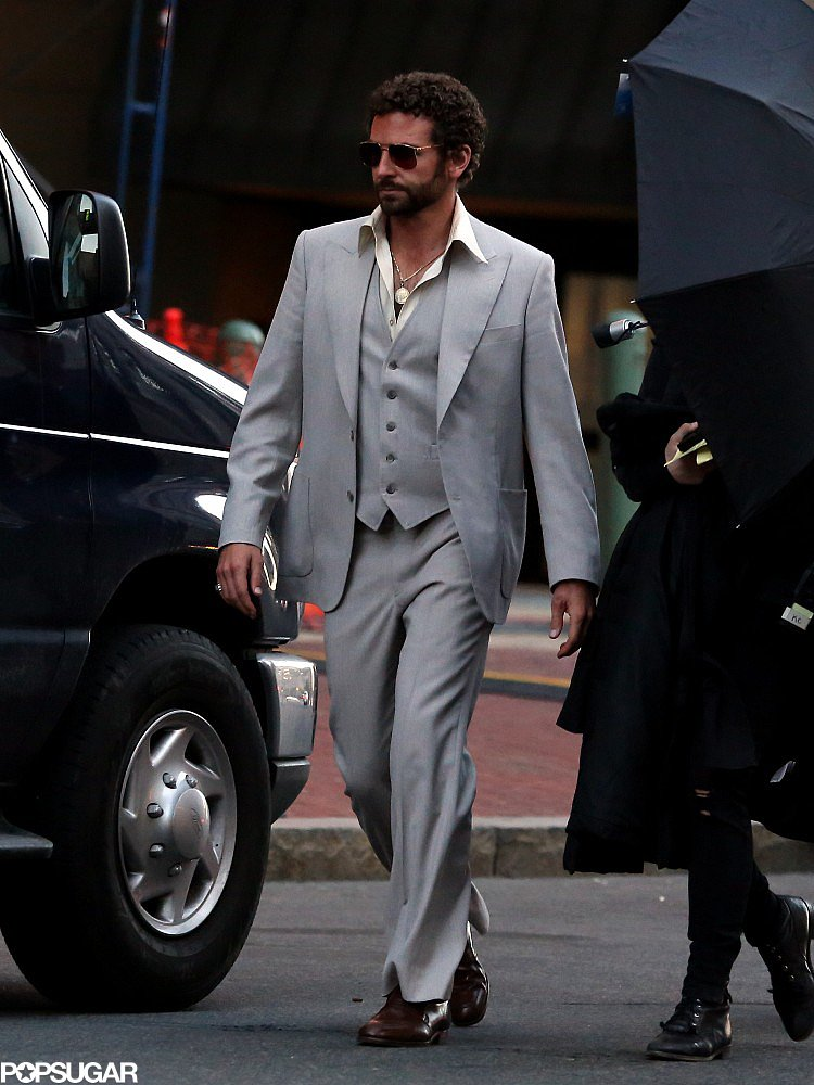 Bradley Cooper went retro in a suit on the set of the untitled David O. Russell film in Boston on Wednesday.