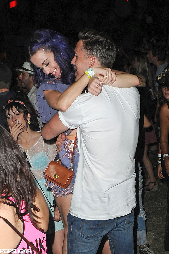 Katy Perry got close with her man at the second weekend of Coachella 2012.