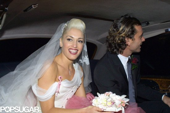 Gwen Stefani wore a white and pink gown for her London nuptials to Gavin Rossdale in September 2002.