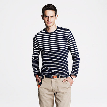 Long-sleeve heavyweight tee in variegated stripe
