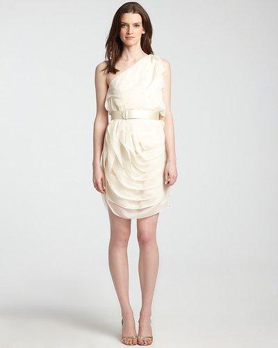 HALSTON HERITAGE One Shoulder Dress - Tiered Ruffle