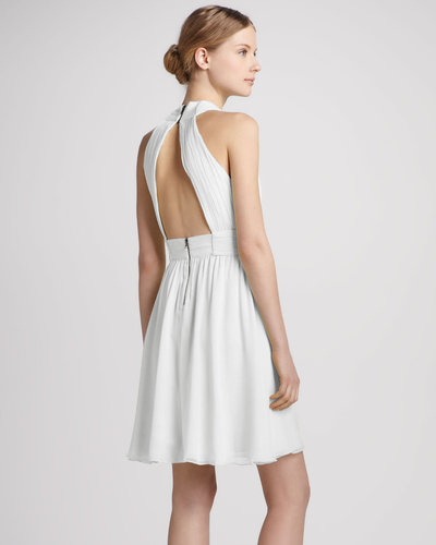 Alice + Olivia Martine Wrap Tulip Keyhole Dress, White