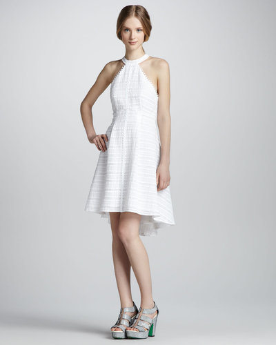 Nanette Lepore Atlantis Textured Hi-Lo Halter Dress