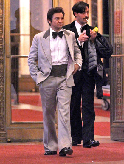 Jeremy Renner walked out in a '70s-inspired tuxedo while filming the new David O. Russell project in Boston on Thursday.