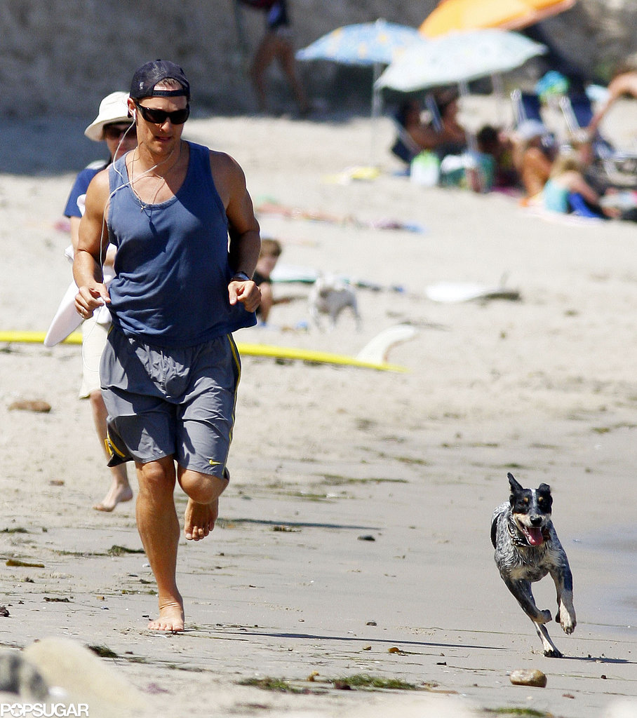 Matthew McConaughey's pup kept up with him during their sprints on the beach in Malibu in August 2009.