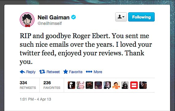Author Neil Gaiman gives film critic Roger Ebert two thumbs up.