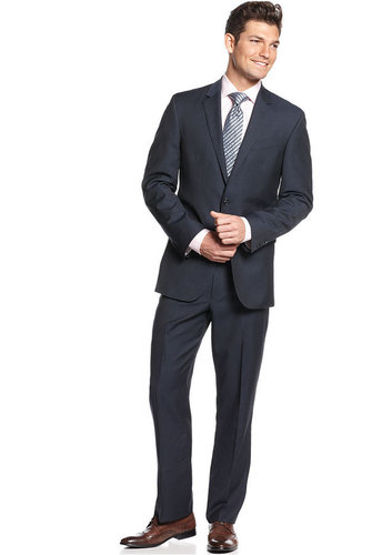 Kenneth Cole New York Suit, Navy Tonal Stripe Slim Fit