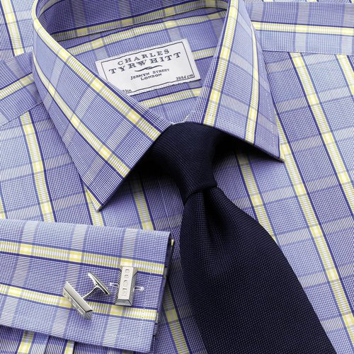 Jermyn St blue and gold check slim fit dress shirt