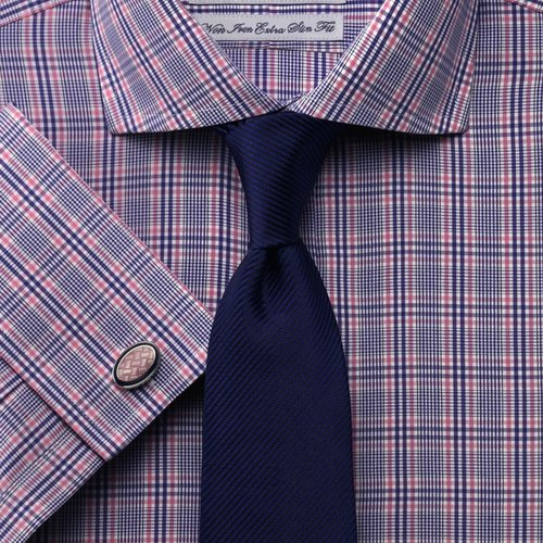 Somerville royal and pink Prince of Wales check non-iron extra slim fit shirt