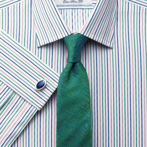 Blue, pink and green multi stripe extra slim fit shirt