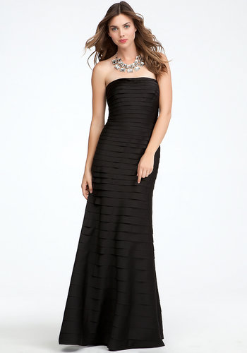 Tiered Polyester Satin Gown - ONLINE EXCLUSIVE