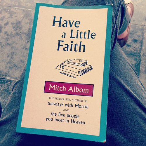 Cheezzyeung picked up an oldie but goodie to read again — Mitch Albom's Have a Little Faith.
