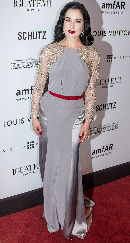 Dita Von Teese wore a gown by Jenny Packham.