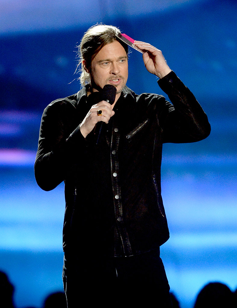 Brad Pitt looked out at the audience while presenting an award.
