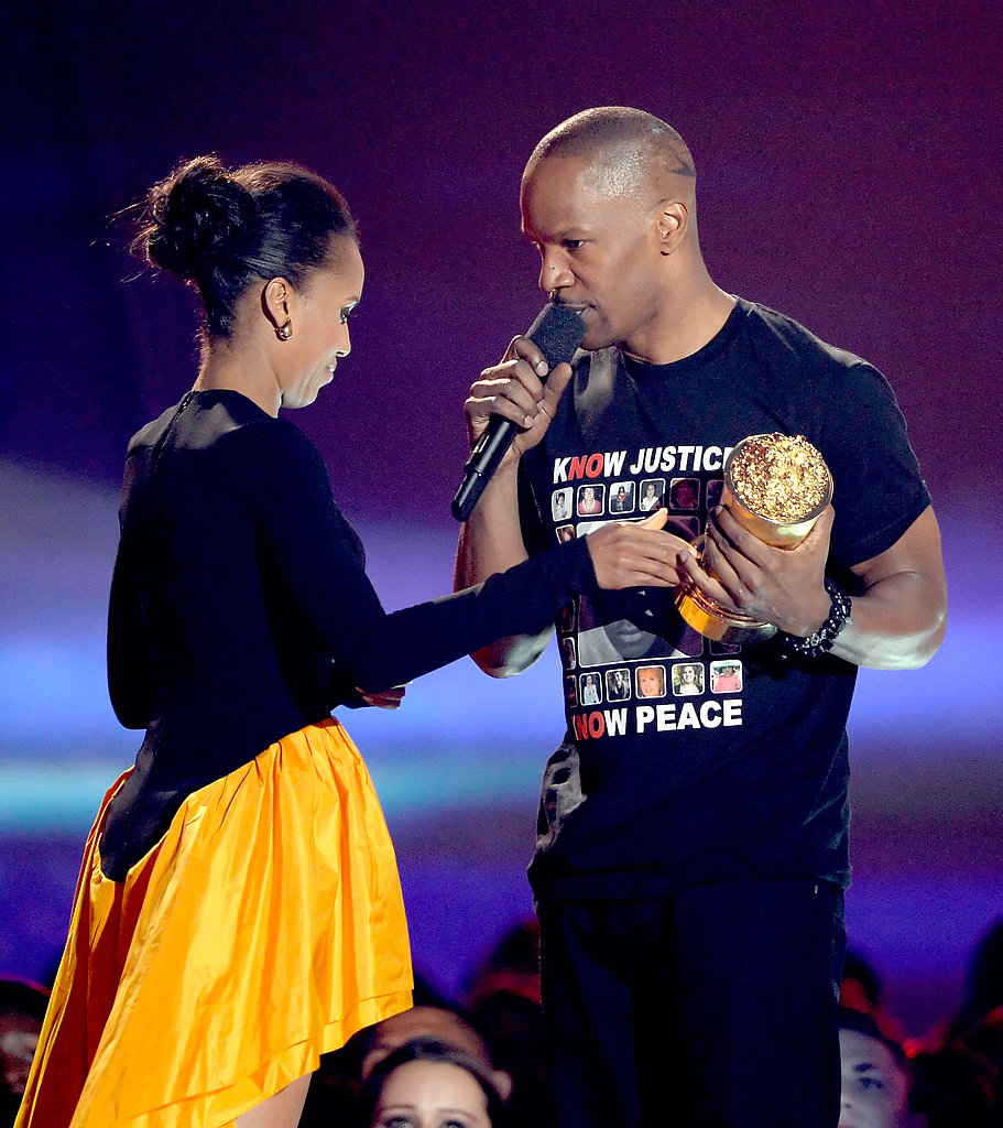 Django Unchained stars Kerry Washington and Jamie Foxx reunited on stage when he won the night's Generation Award.