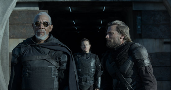 Morgan Freeman and Nikolaj Coster-Waldau in Oblivion.