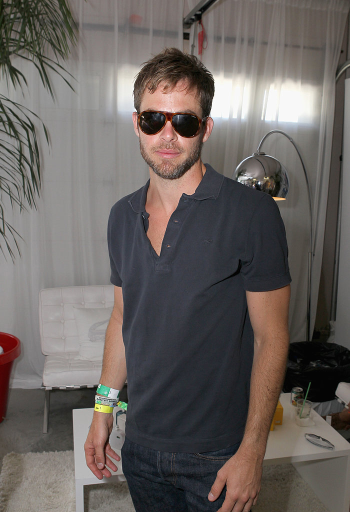 Chris Pine checked out Lacoste L!ve Desert Pool Party.