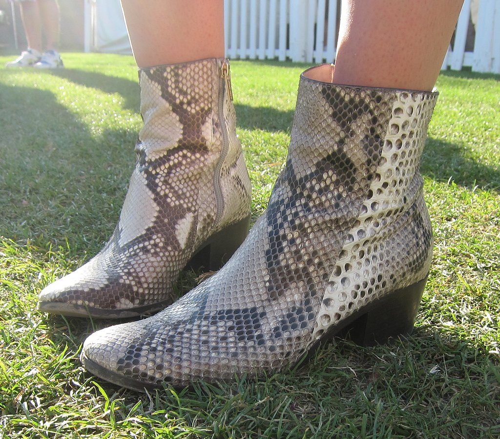 Leather snakeskin booties should be a part of every cool girl's arsenal.