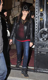 Penélope Cruz wore a leather jacket with wedge sneakers in Spain.